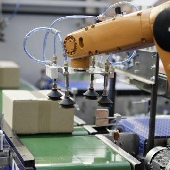 Robotic arm on a production line